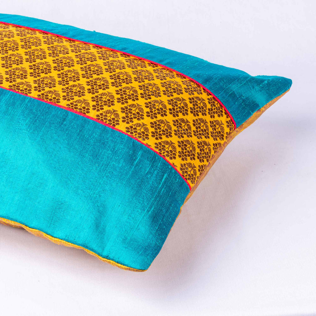 Handmade Teal and Mustard Pure Silk Cushion Cover By DesiCrafts