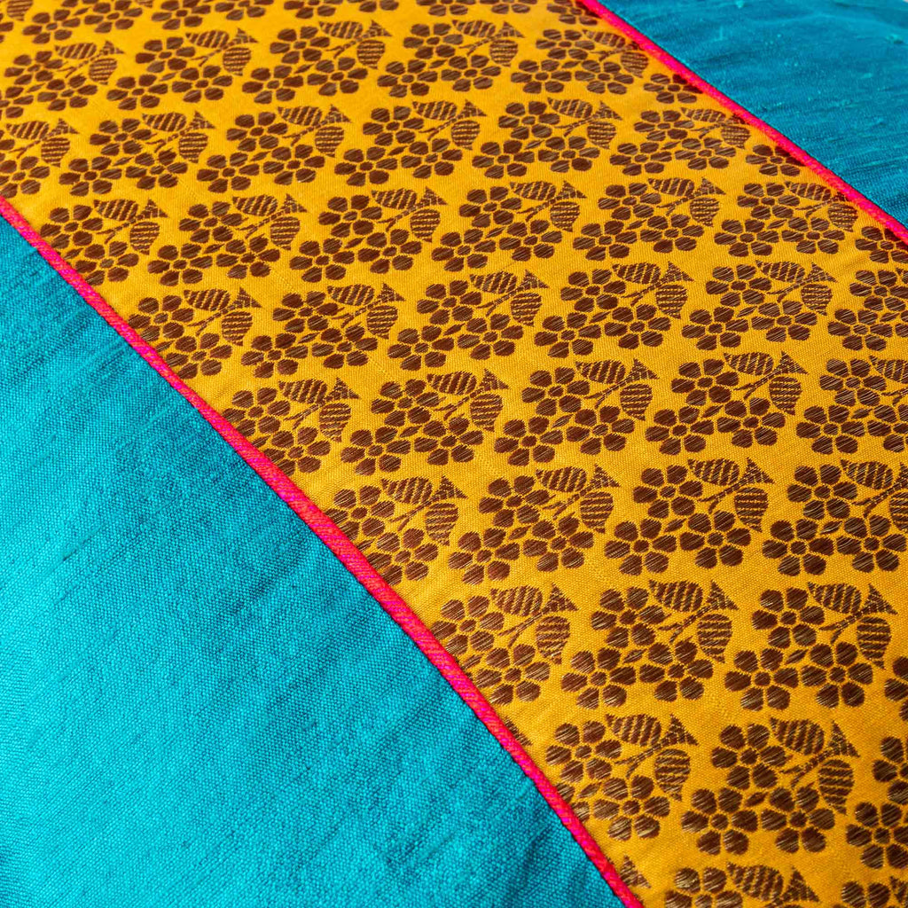 Teal and Mustard Raw Silk Lumbar Cushion Cover