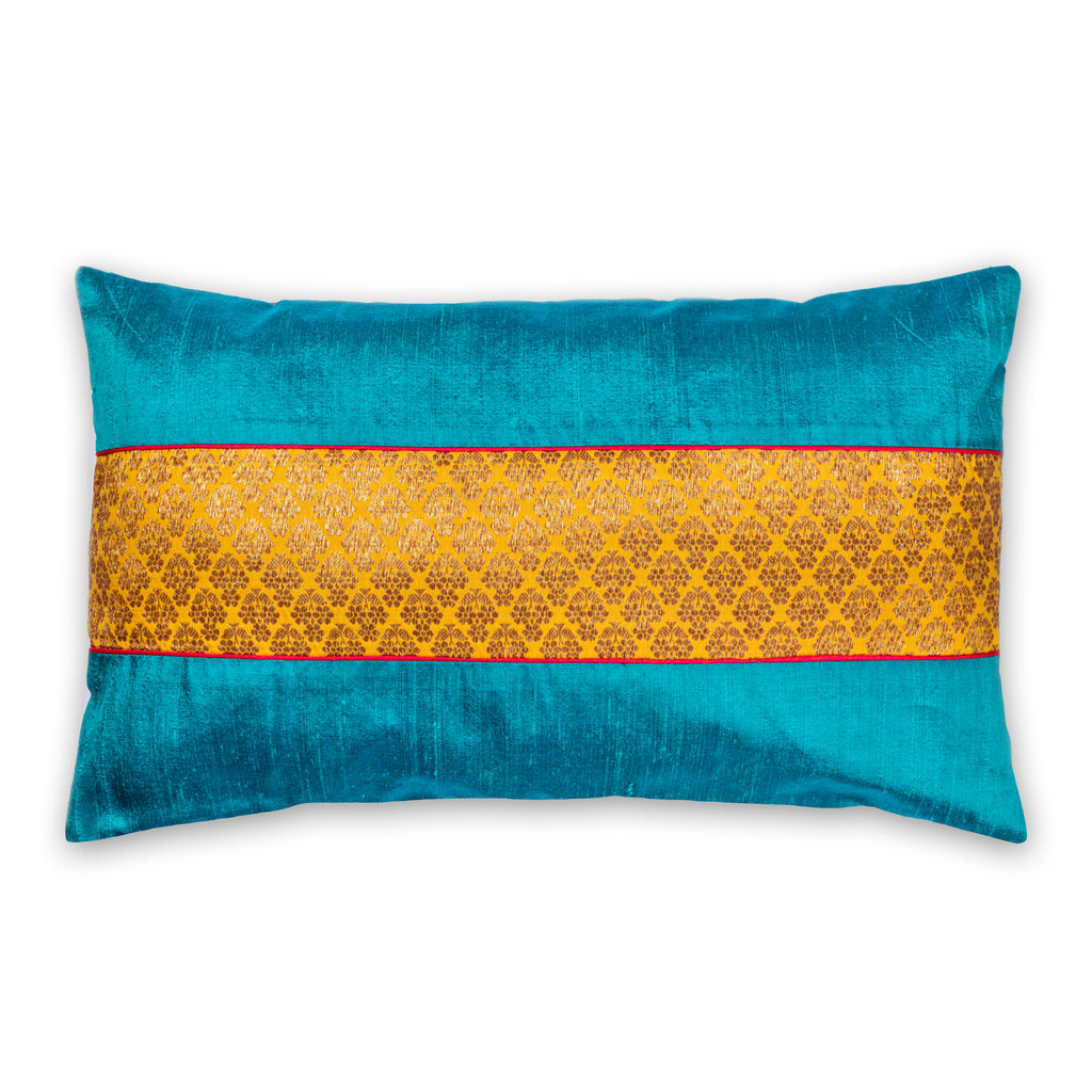 Teal and Mustard Raw Silk Pillow Cover