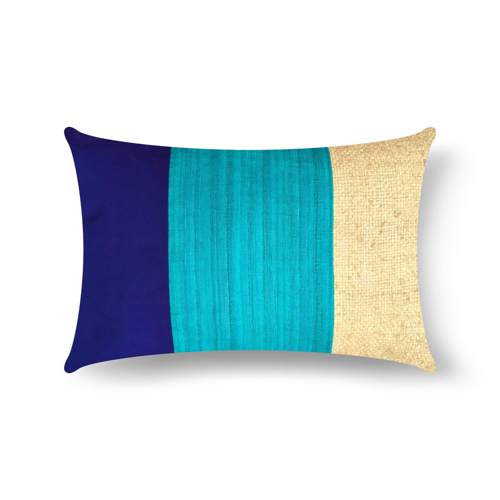 Handmade Aqua Navy Raw Silk Lumbar Pillow Cover Buy Online from India