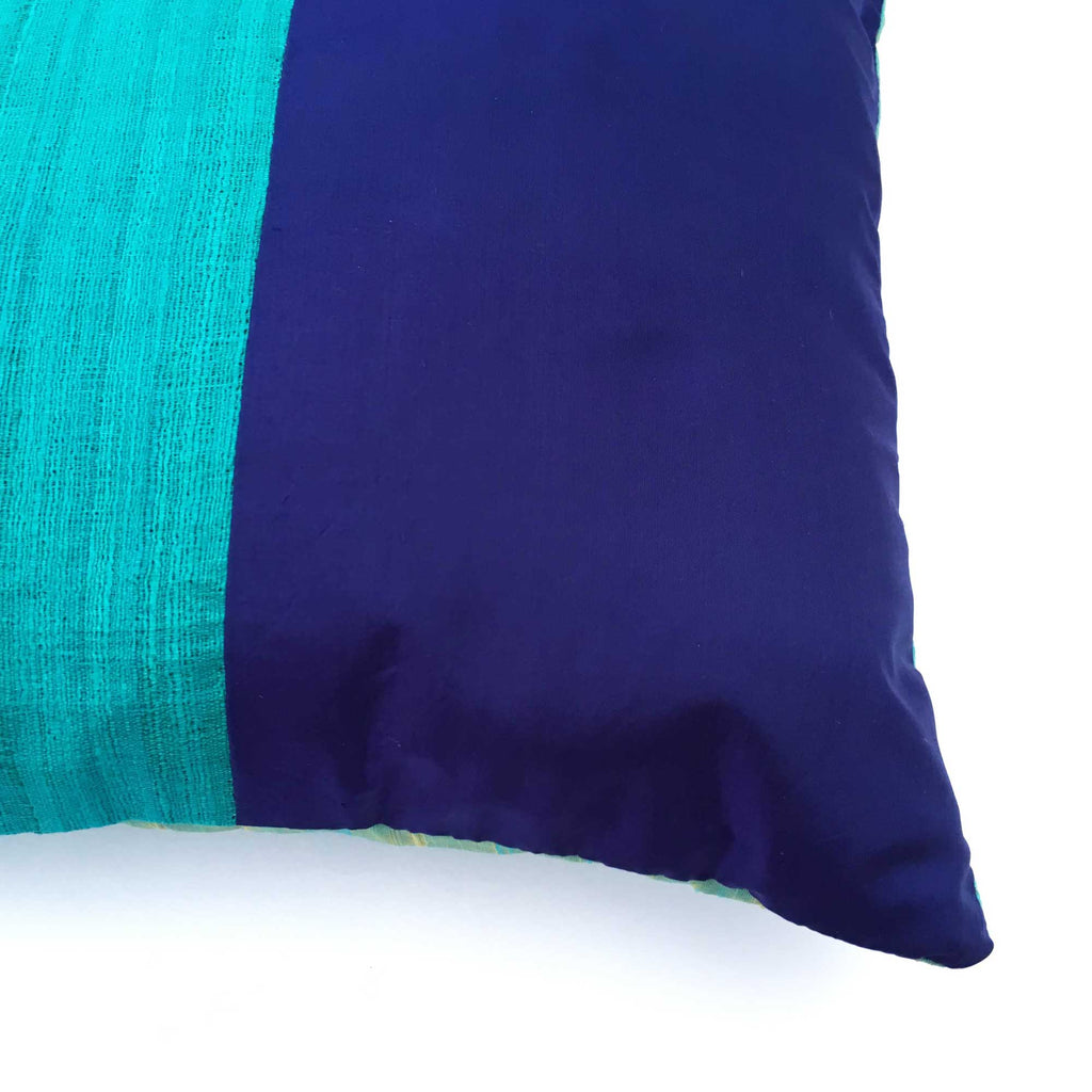 Navy and Aqua Soft silk pillow cover