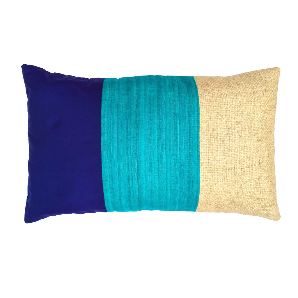 Aqua and Navy Raw Silk Lumbar Pillow Cover