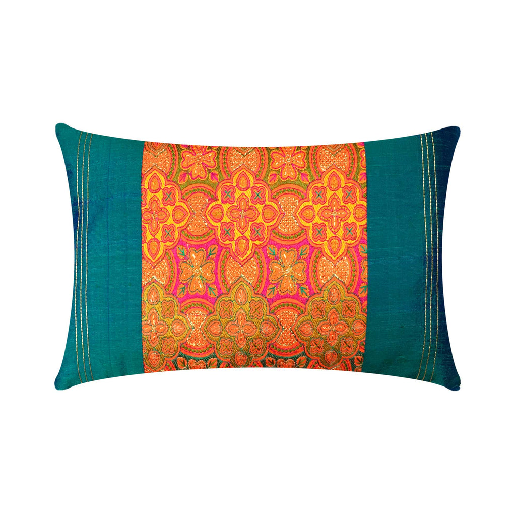 Teal and Orange Embroidered Silk Lumbar Cushion Cover