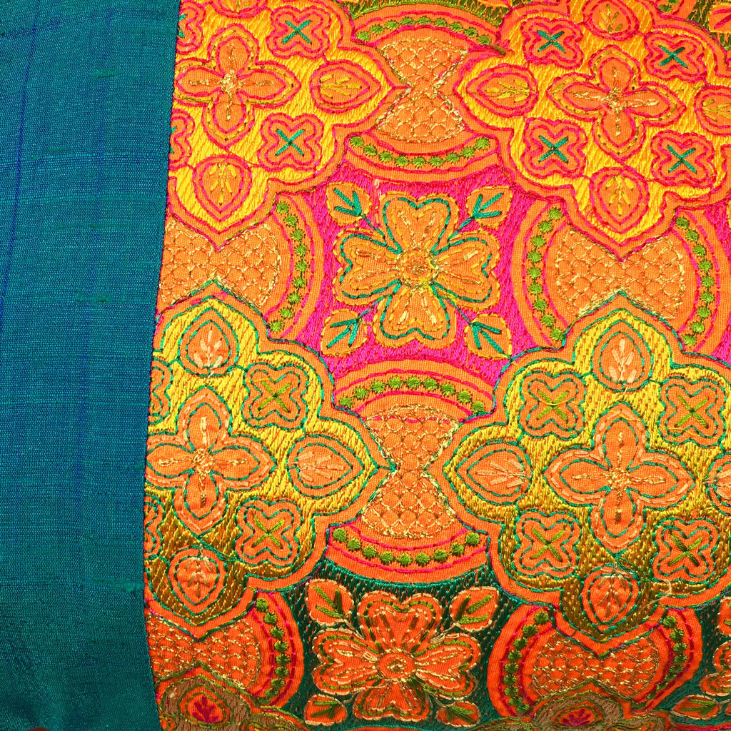 Teal and Orange Embroidered Silk Lumbar Cushion Cover Buy from DesiCrafts