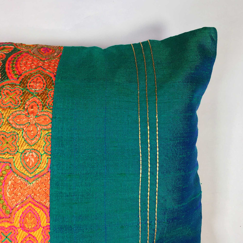 Teal and Orange Embroidered Silk Lumbar Cushion Cover Buy online