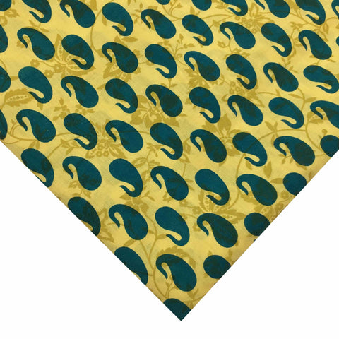 Teal and Yellow Paisley Soft Cotton Fabric