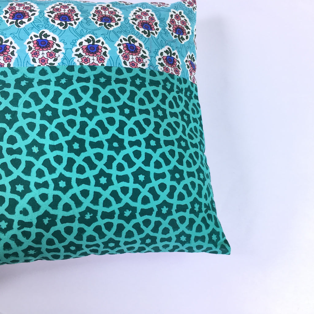 Teal Patchwork Cushion Cover