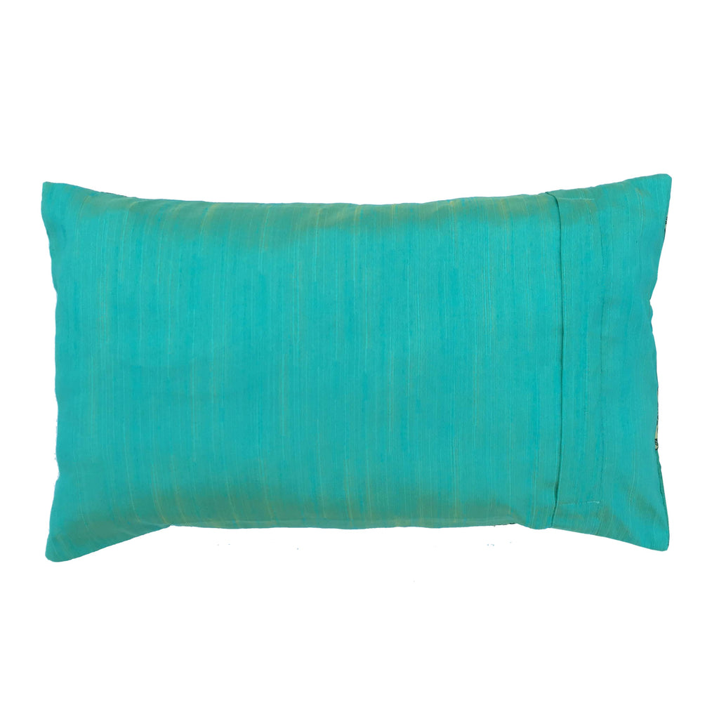 Teal Gold Hot Pink Silk Lumbar Pillow Cover