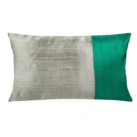 Teal and beige silk pillow cover buy online from Desicrafts