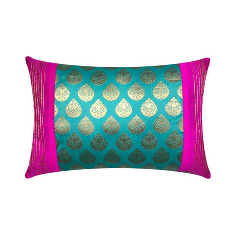 Teal and hot pink embroidered pillow cover