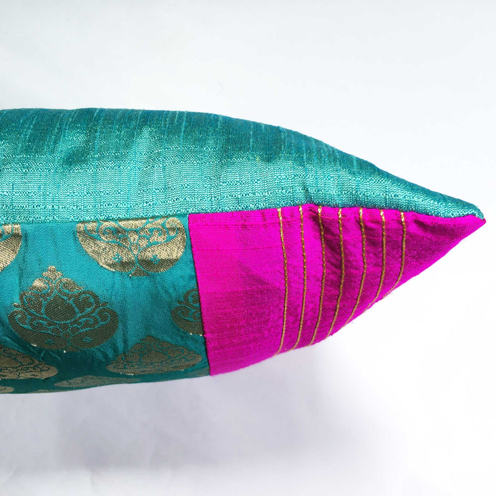 Hot Pink and Teal pure silk pillow