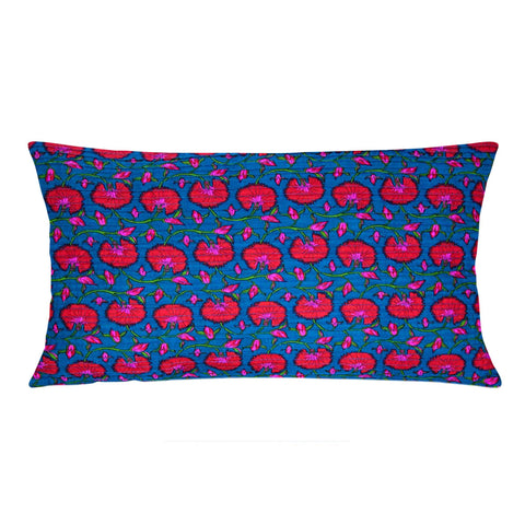 Teal and Red Pintucks Cotton Lumbar Pillow Cover