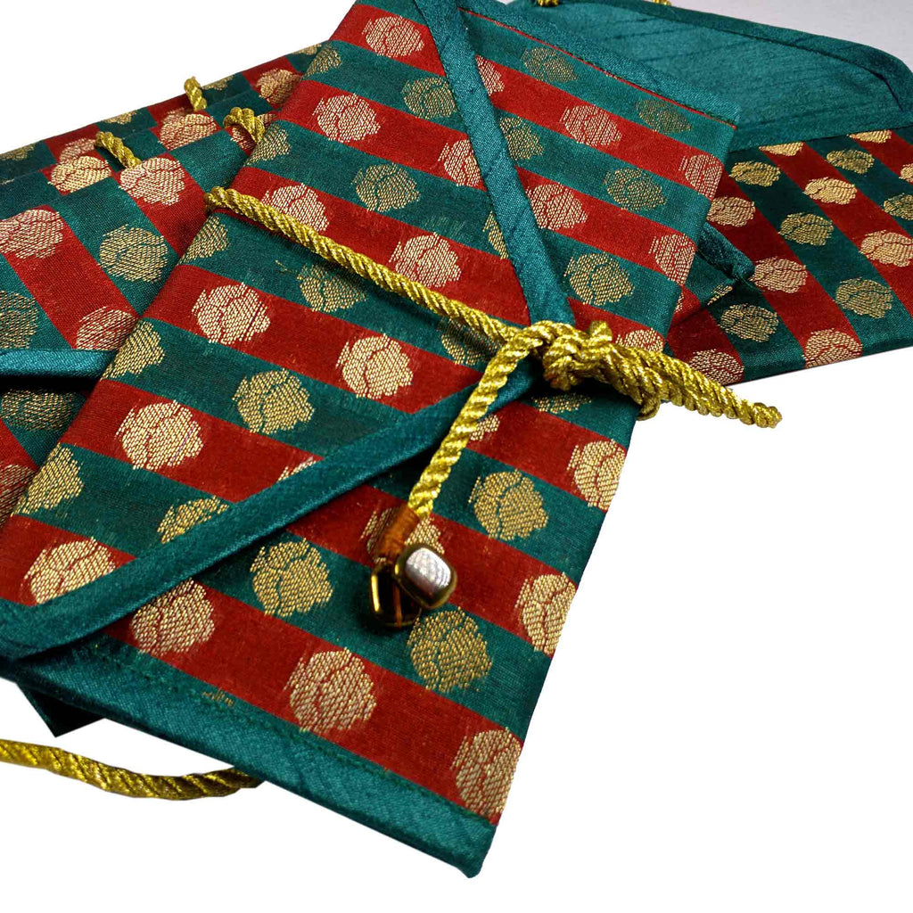 Set of 5 Teal and Red Silk Fabric Gift Envelopes