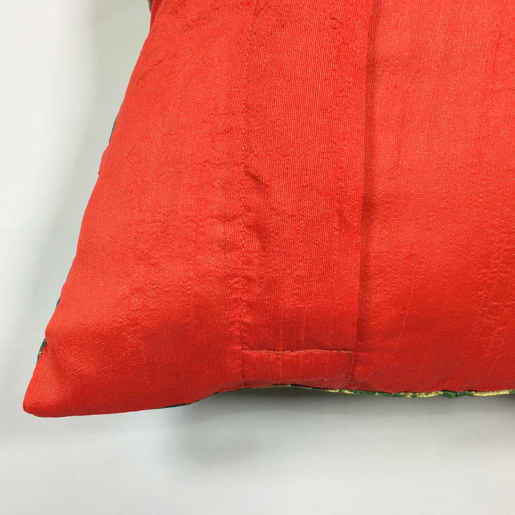 Teal and Red Banarasi Silk Lumbar Cushion Cover