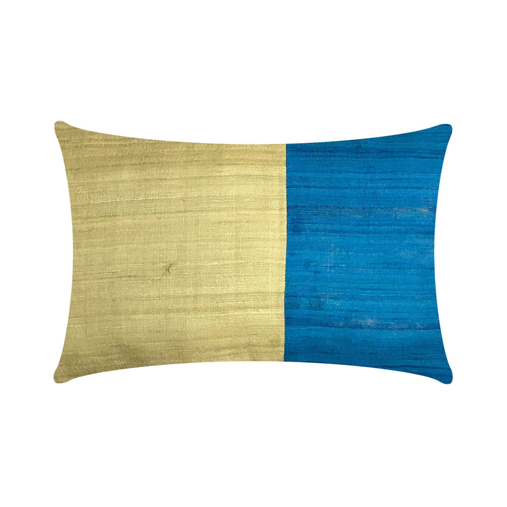 Teal Beige Tussar Silk Lumbar Pillow Cover Buy from DesiCrafts