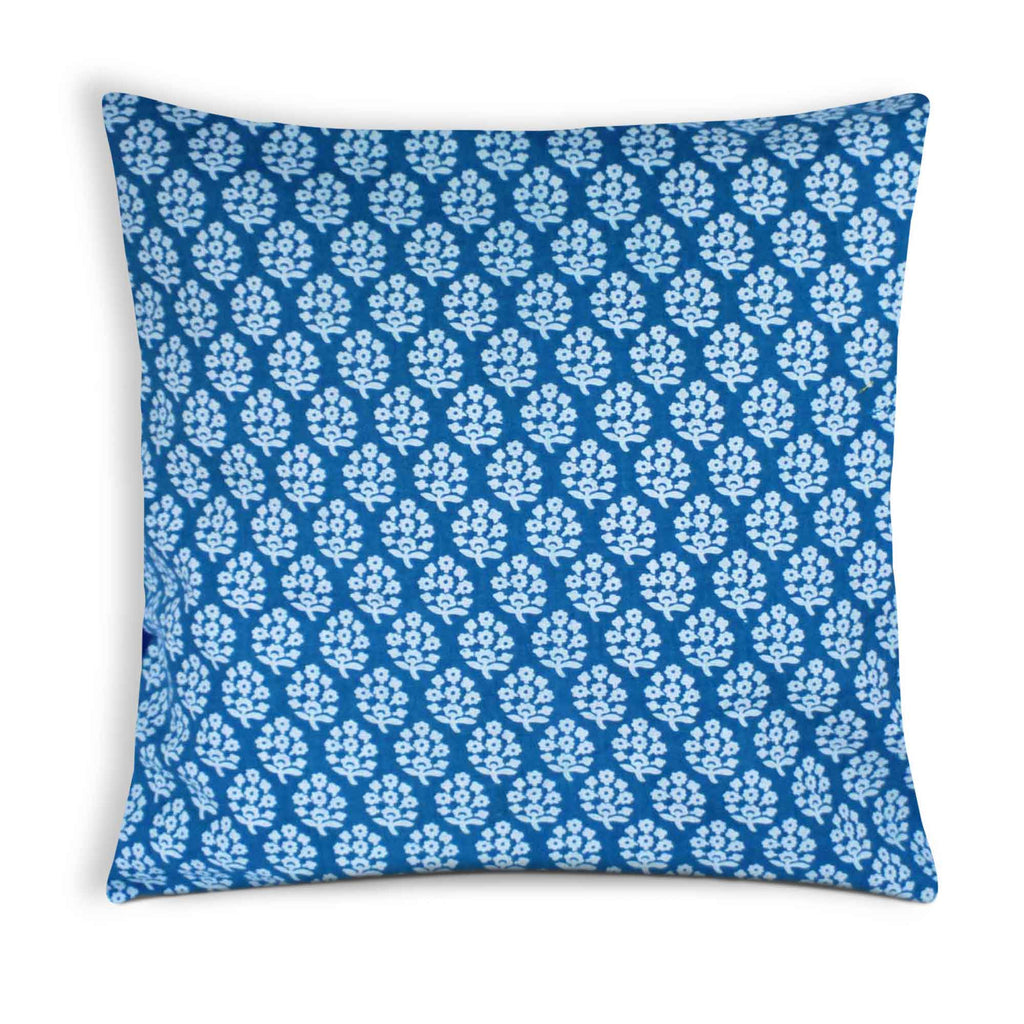 Teal and White Cotton Cushion Cover