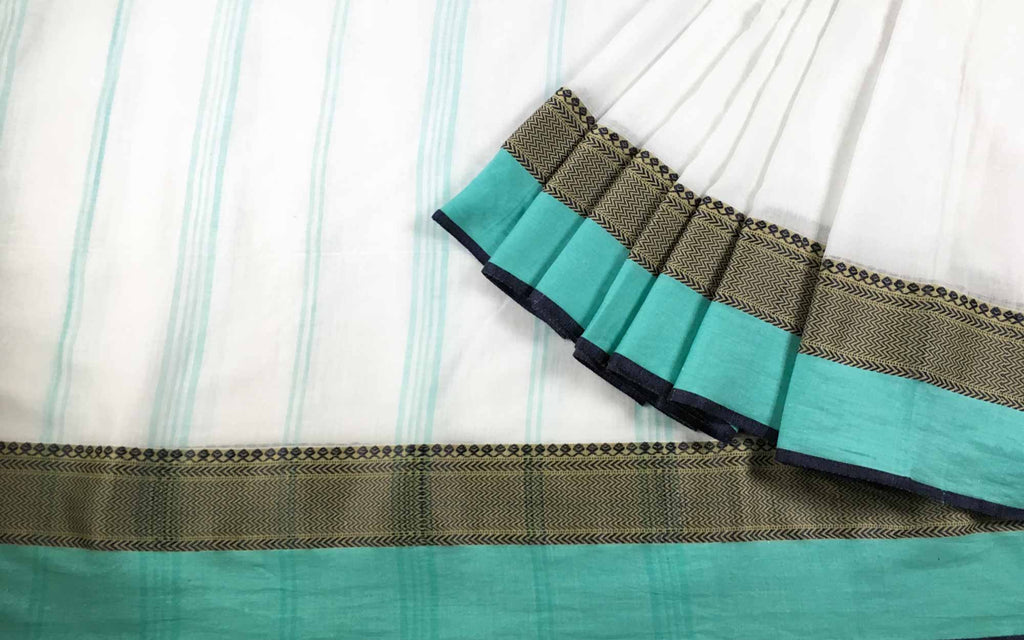Workwear Teal and White Handloom Linen Cotton Sari