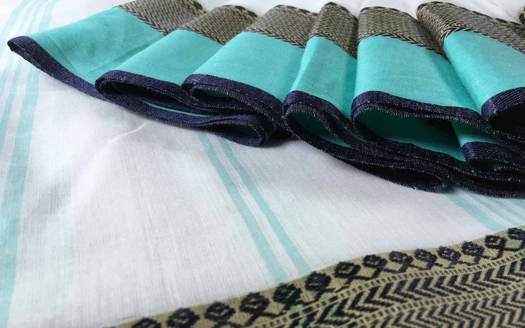 Black and Teal Linen Cotton Sari By DesiCrafts