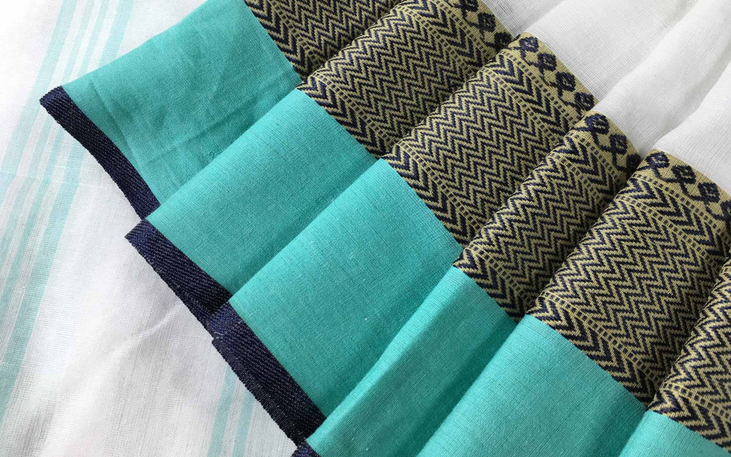 Office Wear Handwoven Linen Cotton Sari in Teal and Black