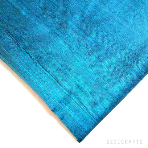 Teal / Cobalt Dupioni Silk - Raw Silk Fabric