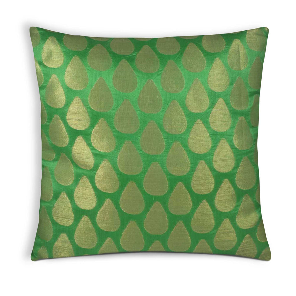 Tear Drop Green Gold Silk Pillow Cover