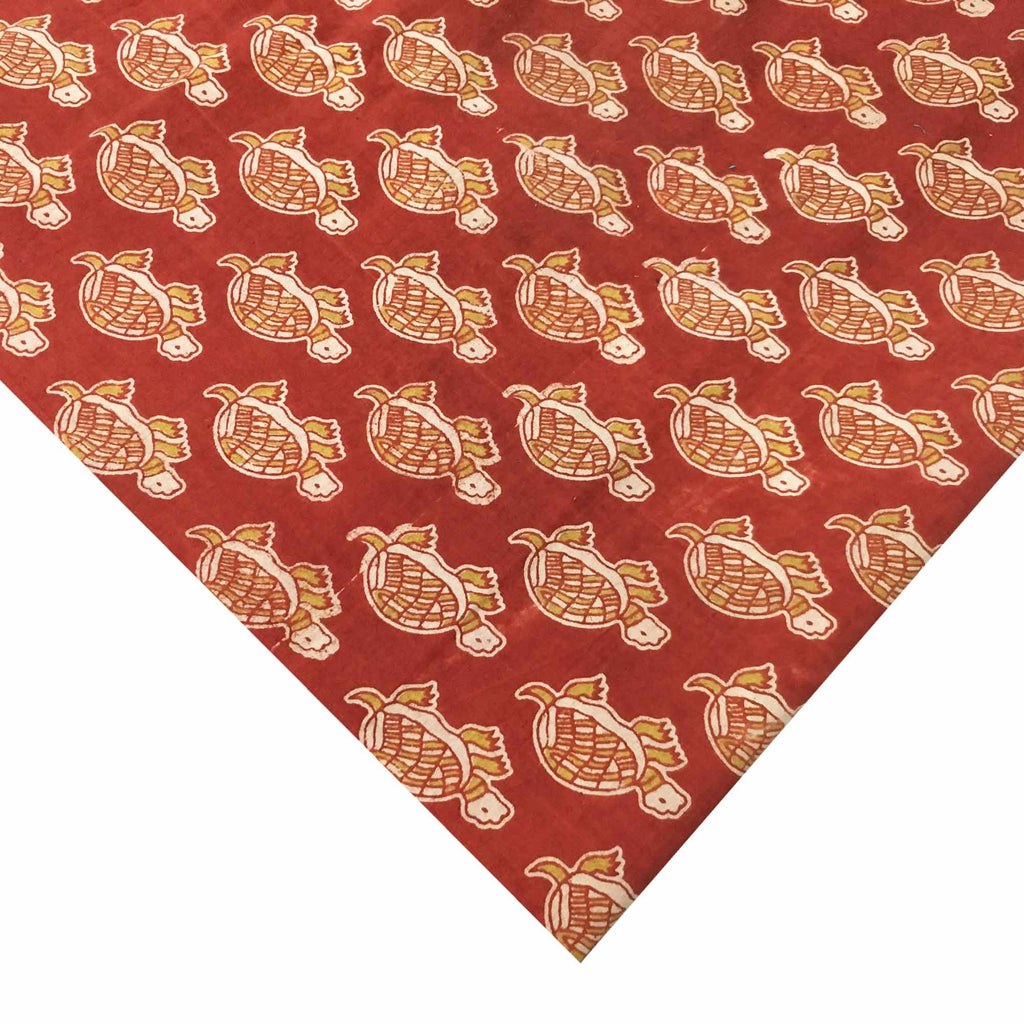 Red and beige tortoise kalamkari fabric