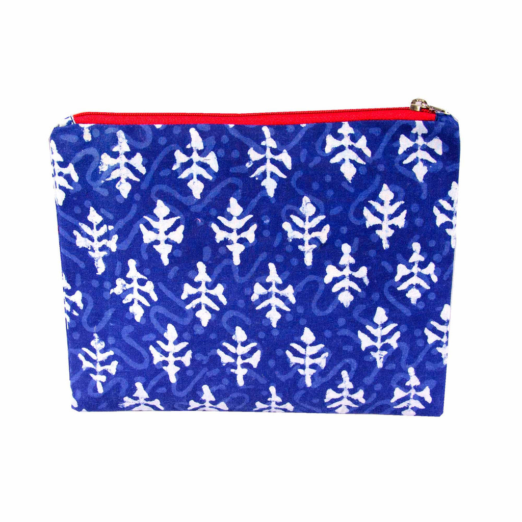 Handblock Printed Tree Blockprint Indigo Bagru Travel Pouch