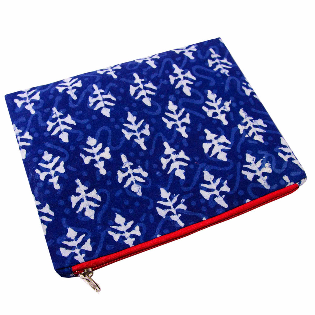 Buy Online at DesiCrafts Handblock Printed Indigo Bagru Travel Pouch