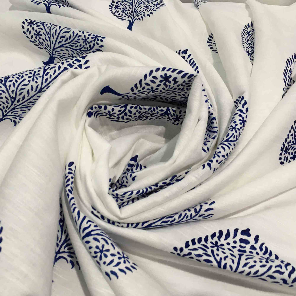 Hand block printed linen fabric By Meter