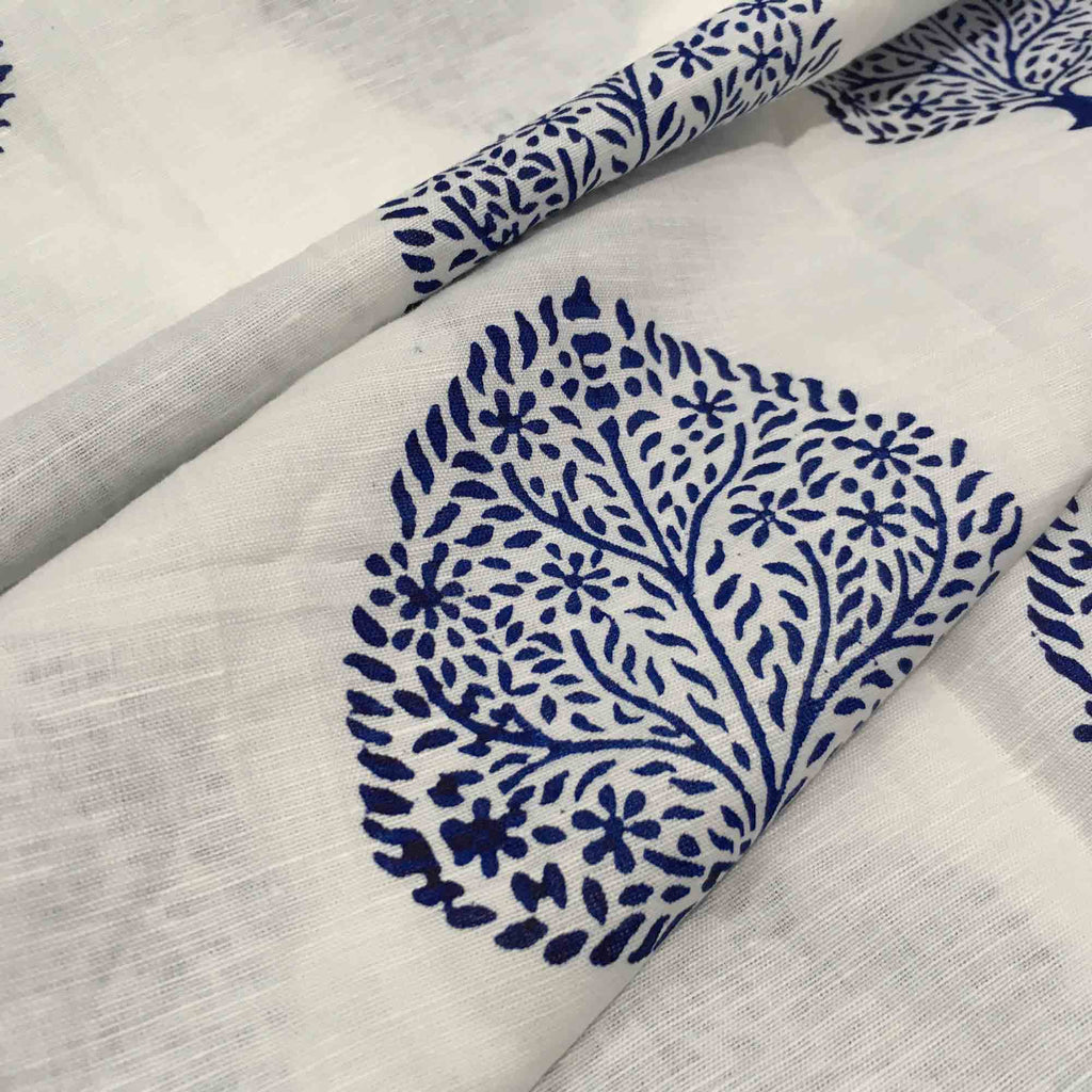 Indigo Print linen fabric buy online from DesiCrafts
