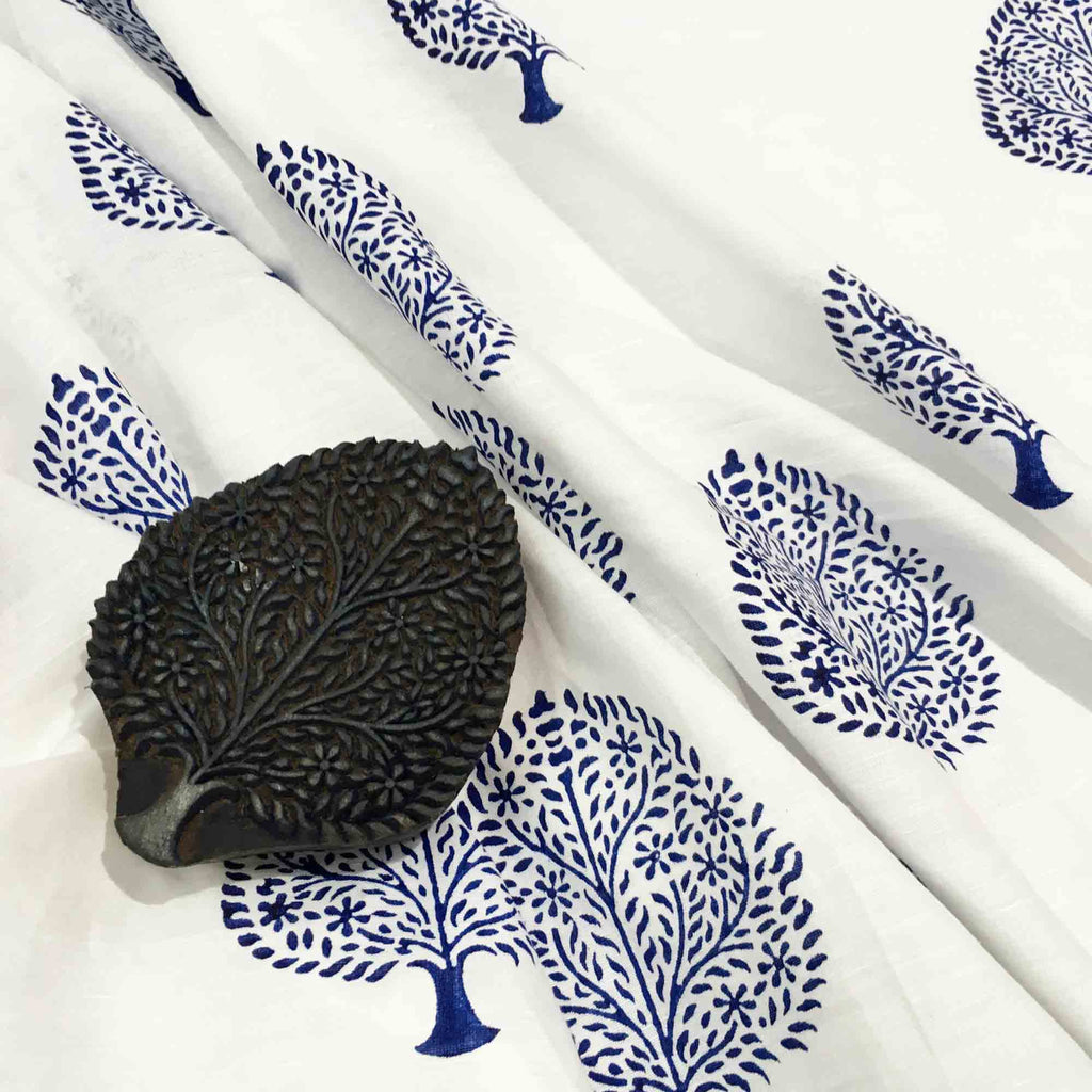 Block printed linen fabric buy online from DesiCrafts