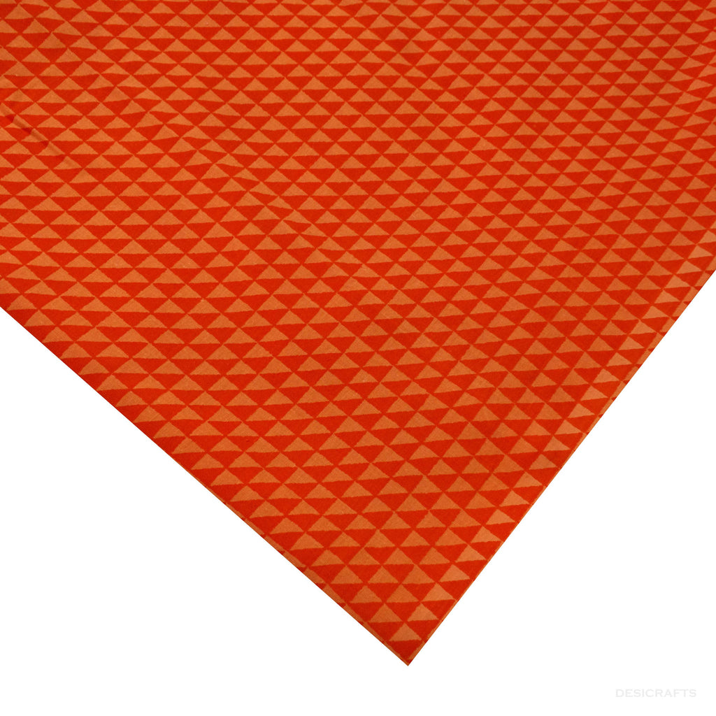 Orange Triangle Print Cotton Fabric