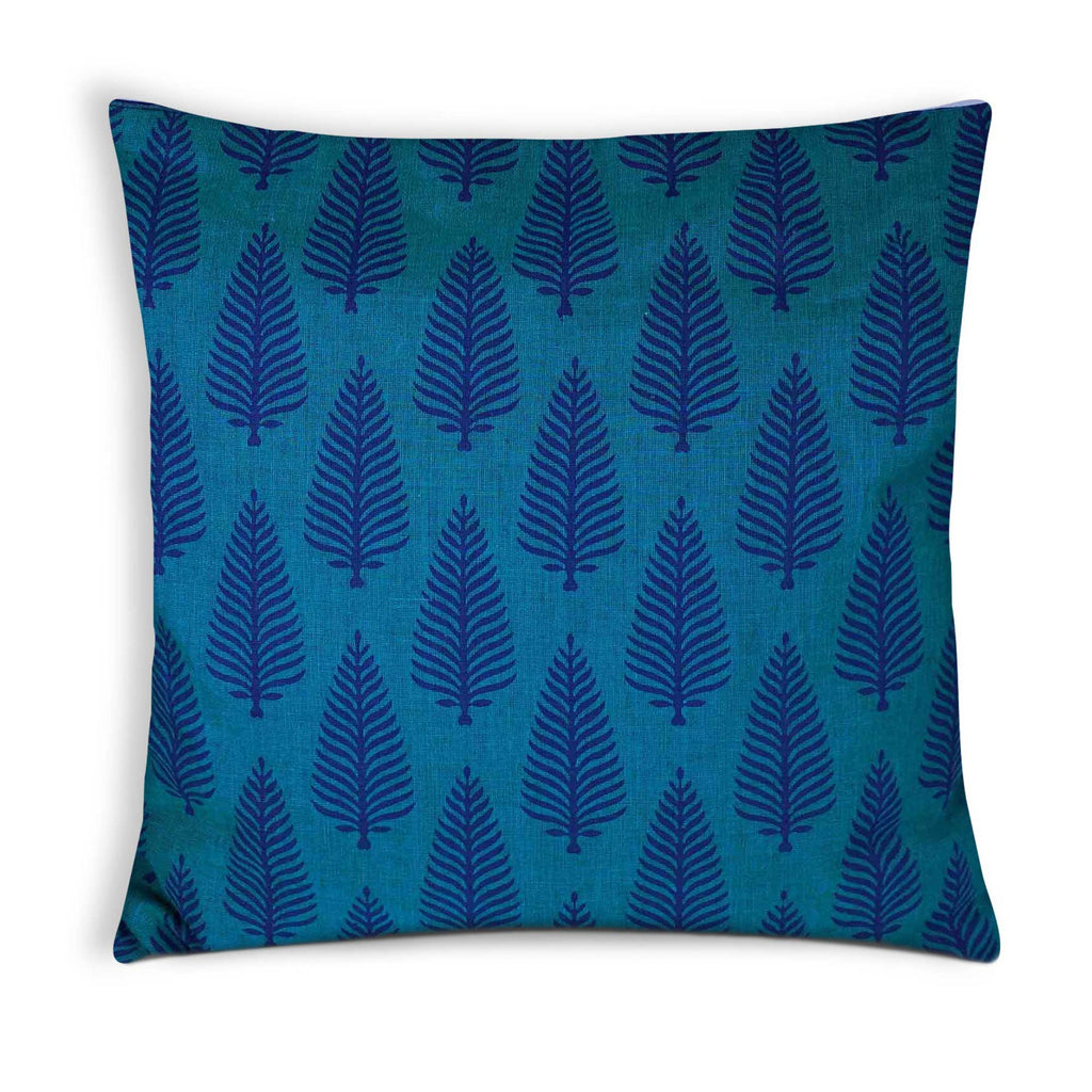 Turquoise Blue Cotton Cushion Cover By DesiCrafts
