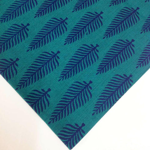 Turquoise and Navy Printed Cotton Fabric