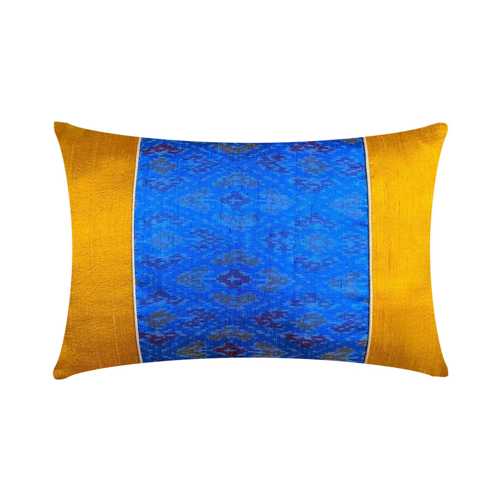 Turquoise and Mustard Embellished Raw Silk Ikat Pillow Cover