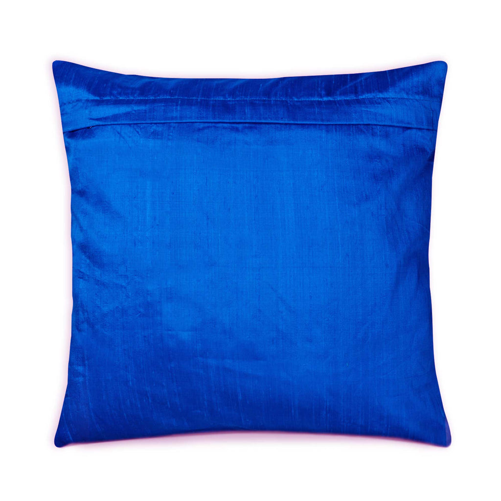 DesiCrafts Raw Silk Pillow Cover in Turquoise Blue Buy Online