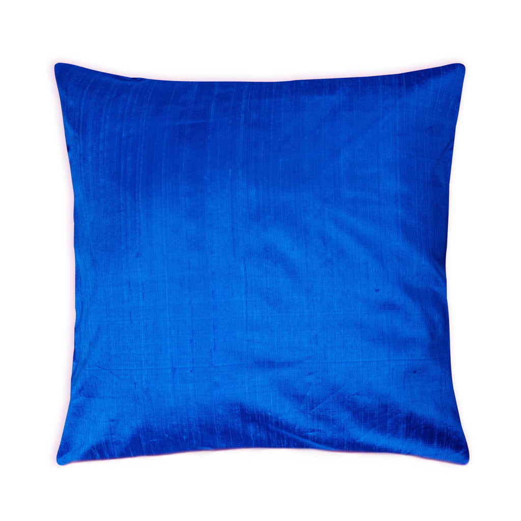 DesiCrafts Raw Silk Pillow Cover in Turquoise Blue