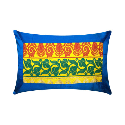 Turquoise Yellow Silk Lumbar Pillow Cover
