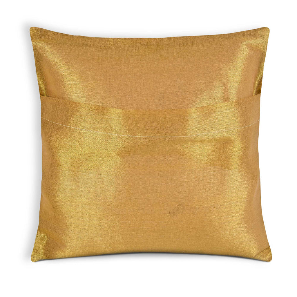 Envelope Style Purple and Gold Silk Cushion Cover