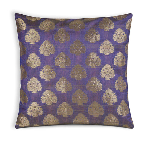 Mauve and Gold Floral Chanderi Silk Cushion Cover Buy Online From India