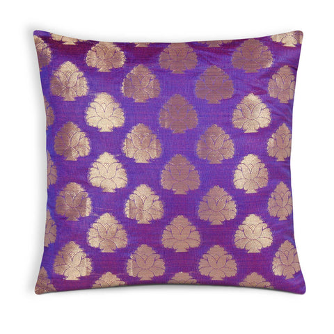 Purple Gold Floral Chanderi Silk Cushion Cover Buy Online From India