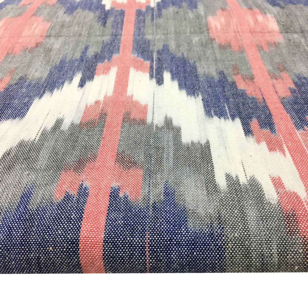 Pink and Blue Upholstery Weight Ikat Cotton Fabric