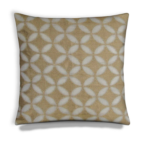 white and gold chanderi silk cushion cover by DesiCrafts