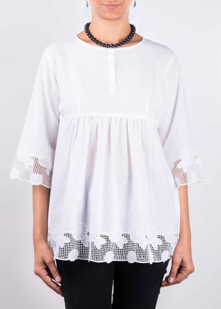 White Empire Waist Cotton Top By DesiCrafts