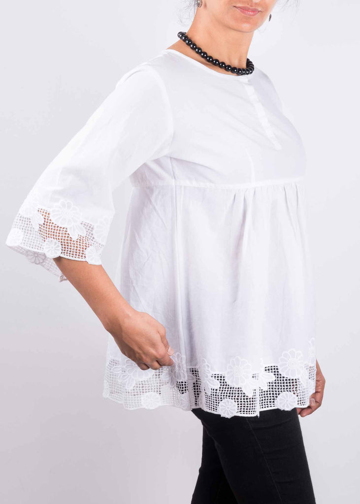 White Empire Waist Cotton Top Buy Online From DesiCrafts