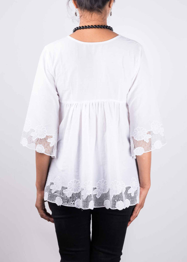 Empire Waist White Lace Cotton Top By DesiCrafts