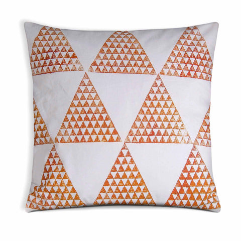 Rust Triforce Block Print Cotton Outdoor Pillow Cover