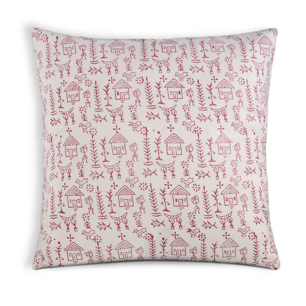 White Red Tribal Print Soft Cotton Pillow Cover