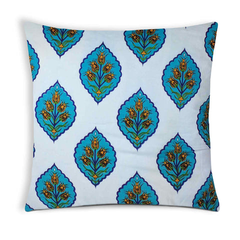 White and Teal Damask Cotton Cushion Cover