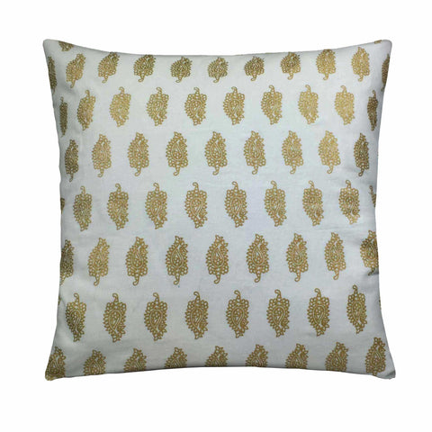 white and gold pasiley cotton pillow cover buy online from DesiCrafts